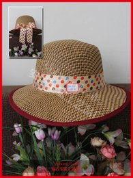 Wholesale Wholesale Sun Hats China - Wholesale-Large Canopies Women Visor Sun Hats Beautiful Color Bamboo Dot Ribbon Decorations Visors From China