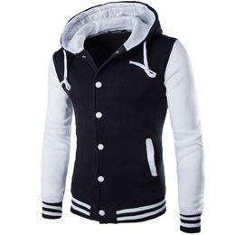 Wholesale Varsity Jacket Designs - 1601 New Hooded Baseball Jacket Men 2015 Fashion Design Black Mens Slim Fit Varsity Jacket Brand Stylish College Jacekt Veste Homme