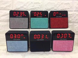 Wholesale Mp3 Player Alarm Clock Radio - T1 LCD Fabric Bluetooth Speaker Mini alarm clock wireless subwoofer FM TF USB 1200MAH Battery 10pcs lot