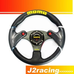 Wholesale Momo Carbon Steering Wheel - J2 RACING STORE- NEW 32cm Black MOMO leather steering wheel and carbon fibre wheel automobile race modified PQY-SW41