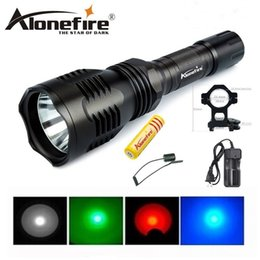 Wholesale portable torch set - Alonefire HS-802 Cree green red blue light led hunting flashlight torch set with battery+charger+tactical switch+gun mount+battery