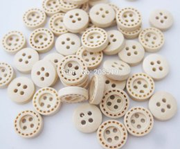 Wholesale Sew Assorted Button - WBNSAN Circle Lines Brand Shirt buttons 60pcs lot 4 holes Wooden button Assorted sizes craft decorative sewing supplies