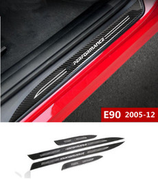 Wholesale Bmw Pedal Cars - Car styling Carbon Fiber External Threshold Strips decoration Car Door Welcome pedal Trim decals for BMW 3 Series E90 2005-12