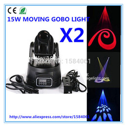 Wholesale Dmx Gobo - Wholesale-2pcs   15W led moving pattern light DMX control moving head light multifunctional gobo lights Disco lights DJ Equipment