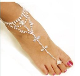 Wholesale Slave Girl - 2016 sexy rhinestones barefoot sandals stretch slave anklet chain crystal foot jewelry high quality silver color