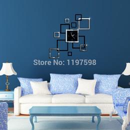 Wholesale 3d Photo Frame Designs - DIY Home Modern Decoration 3D Crystal Mirror Living Room Pattern Design Wall Clock Photo frame clock