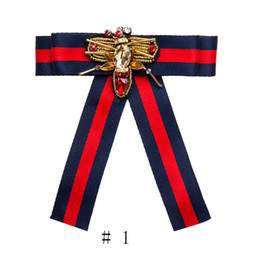 Wholesale Bow Fashion Jewelry - Women Fashion Handmade Satin Ribbon Bow Tie Necktie Bow-knot Shirt Tie Clips Brooch Pins Shirts Collar Dragonfly Jewelry 2 Order