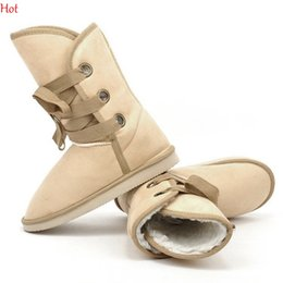 Wholesale Making Knots - 2016 New Winter Snow Boots Women Man-made Fur Buckle Motorcycle Half Boots Flats Shoes Size 36-40 Black Coffee Beige Pink Brown Boo SV010548