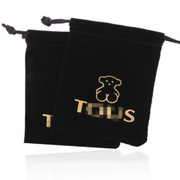 Wholesale High End Wholesale Jewelry Bags - Wallets black bear beam high-end velvet bag Bear jewelry bags
