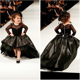 Wholesale Taffeta Lace Communion Dresses - 2016 Cupcake Princess Ball Gown Black Taffeta High Low Girl Pageant Dresses with Long Sleeves Fashion Kids Formal Wear Prom Gowns