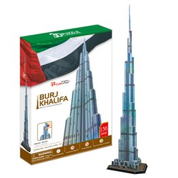 Wholesale Mail Toy - Wholesale-CubicFun 3D puzzle BURJ KHALIFA TOWER with lighting educational diy toy model free air mail