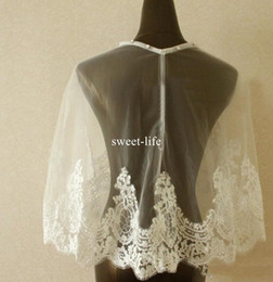 Wholesale Cheap Wedding Dresses Fast Shipping - Ivory 2017 Lace Bridal Wraps Custom Made Cheap Jackets Appliqued Bride Coat For Wedding Dresses Fast Shipping Bridal Accessories