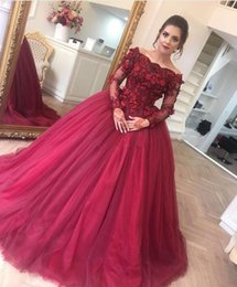 2017 Vestidos De Fiesta Off Shoulders Ball Gown Quinceanera Dresses High Quality Burgundy Long Tulle With Hand Made Flowers Prom Evening