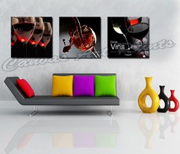 Wholesale Cheap Red Wine Glasses - Wholesale Cheap Paintings Home Decor Canvas Art Printed Painting 3 Panel Wall Art of Red Wine Glasses for Restaurant Decoration