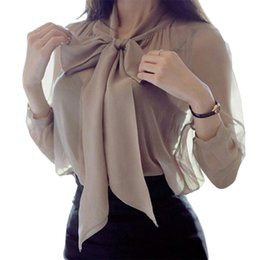 Wholesale Mesh Blouses - Women Spring Mesh Chiffon V-neck Tops Shirts Loose Full Sleeve Pullovers Bow Tie Blouses Elegant Ladies OL Office Clothing 2018