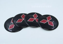 Wholesale Car Sticker For Mitsubishi - 4pcs 56mm Sticker Car Wheel Center Hub Caps Covers Accessorries For MITSUBISHI LANCER PAJERO OUTLANDER ASX Galant Eclipse Spyder