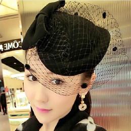 coiffure antique Promotion Chapeau de chapeau de chapeau de style antique de l'Angleterre Petit chapeau de chapeau pur de laine de chapeau de chapeau de l'automne et d'hiver livraison gratuite HT22