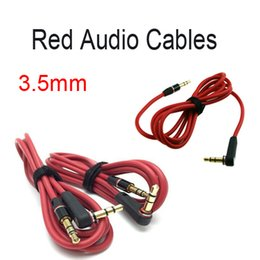 Wholesale Iphone4 Aux - Free DHL 3.5 mm Male to Male Stereo Audio Aux Extension Cable for headphone for iphone4 4s 5 5s red Interface E16L
