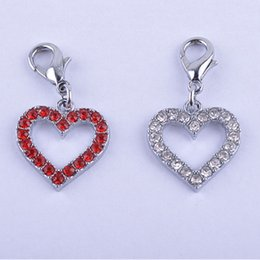 Wholesale Dog Collar Charm Accessories - Wholesale Dog Collar Charms Rhinestone Jewelry Pendent Tag Accessories Pet Necklace Charms Mixed Red Sliver Color