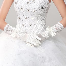 Wholesale Stain Gloves Finger - Long Stain Bridal Gloves 2016 With Bow Elegant Gloves Elbow Length Wedding Dresses Full Gloves Women Gloves Made in China Hot Sale