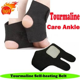 Wholesale Heated Massage Belt - 10 Pairs Lot Spontaneous Tourmaline Ankle Self Heating Magnetic Therapy Massage Ankle Belt Brace Support Foot Health Care Black