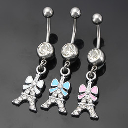 Wholesale Eiffel Tower Buttons - Stainless Steel Eiffel Tower Bowknot Rhinstones Belly Button Rings Navel Ring Body Piercing Jewelry 3 Colors mix
