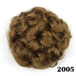 Wholesale hair extensions blonde curly - hanzi_beauty Synthetic Hair Chignon Clip in Hair Extensions Black Brown Mix Color Hair Bun Pad Curly Bun Donut Chignon Hairpieces