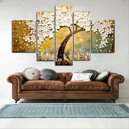 Wholesale Modern Flower Paintings Canvas - Hand Painted Modern Fashion Abstract Oil Painting On Canvas White Flower Tree Paintings NO Frame