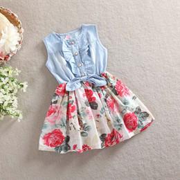 Wholesale Knee Length Sleeveless Denim Dress - DHL 2 Color Girl flower bowknot denim Dress 2016 new Fashion princess Print Rainbow colors sleeveless Dress Children Clothing B001