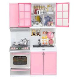 Wholesale Pink Girls Play Kitchen - Pink Kid Kitchen Fun Toy Pretend Play Cook Cooking Cabinet Stove Set Toy Babbie Girls Kids Toys Kitchen Sets Christmas Gift