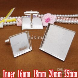 Wholesale Square Cabochons - 50pcs Silver Plated French Cuff link Blank Jewelry with inner 12-20mm Square Bezel Setting Tray for Cameo Cabochons for DIY Jewelry Making