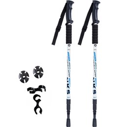 Wholesale Wood Walking - 2 Pcs   lot Anti Shock Nordic Telescopes Trekking Poles Trekking Ultralight Walking Sticks with Protective Rubber Tips