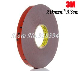 Wholesale Double Sided Adhesive Tape Sticker - Wholesale-1 Roll 20mm*33m 3M For Auto Truck Car Sticker Acrylic Foam Double Sided Attachment Strong Adhesive Tape Free Shipping
