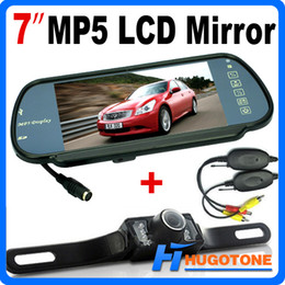Wholesale Mirror Bluetooth Lcd - HD 7 Inch Car Bluetooth MP5 Rearview Camera Monitor Mirror Car Reversing Rear View LED Back up Camera With Nightvision