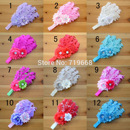 Wholesale Kids Hair Feathers - 12pcs lot 12colors curly feather Pad with rhinestone elastic headband for infant baby girl kids hair band head band accessories
