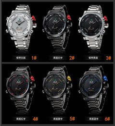 Wholesale Display Relojes - relogios de luxo homens marca WEIDE Analog & Digital Display Military Watch Full Stainless Steel Men Sport Watches Relojes