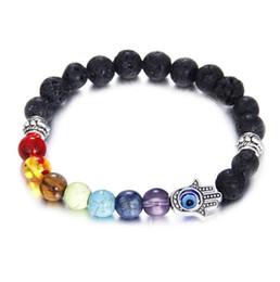 Wholesale Good Healing - 7 Chakra Lava-rock Beaded Bracelet Evil Eye Hamsa Hand Religious Charm Bracelets Healing Balance Beads Natural Stone Yogo Jewelry Good Gift