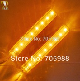 Wholesale Turn Signals Side Mirrors - 2pcs retail box Car Side Door Mirror lights 12V LED Soft Turn Signal Light AMBER BLUE