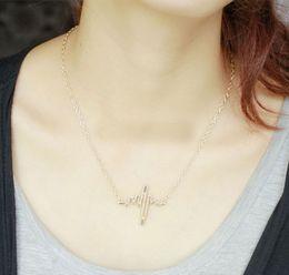 Wholesale Heartbeat Gifts - Wholesale-2Pcs EKG CHARM NECKLACE Electrocardiogram Pendant Heartbeat Heart Rhythm ECG Jewelry
