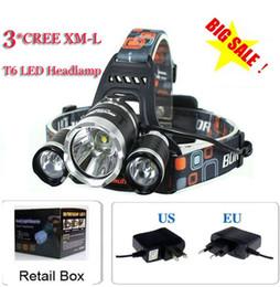 Wholesale Cree Flashlight 3x T6 - 5000 lumen 3x CREE XM-L 3T6 LED bike light Headlight flashlight head for hunting camping+EU UK AU US plug Charger