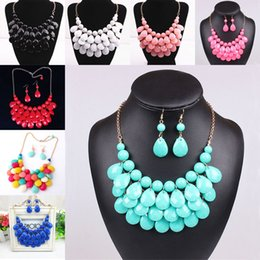 Wholesale Gold Bubble Necklace Wholesale - Drop necklace earrings Sets Multilevel Acrylic Bubble Bead Chokers Necklaces Gold statement Necklaces women jewelry Christmas gift 160038