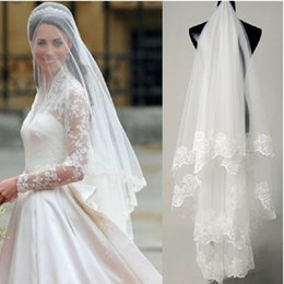 Wholesale Cheap Soft Fabric - Hot Sale Cheap Short Wedding Veils with Lace Embellishment Bridal Accesories 1T 1.5M Soft Tulle Fabric Stock Veil