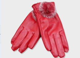 Wholesale Leather Motorcycle Gloves For Women - Outdoor Riding gloves Fur Women Motorcycle gloves for women PU Leather gloves sheepskin women gloves warm winter gloves Free shipping