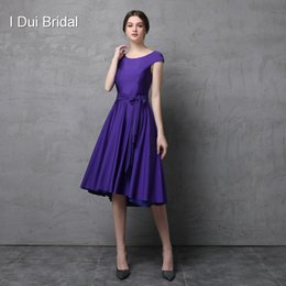 Wholesale Spandex Fabrics - Short Cap Sleeve Knee Length Spandex Fabric Mother of the Bride Dress with Belt Simple Fit Wedding Mother Dress