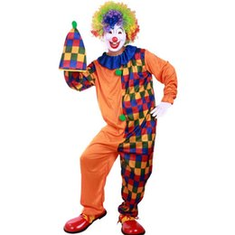 Wholesale Clown Clothes - Color Grid Halloween Clown Cosplay Costumes Adult Performance Masquerade Party Wear Coverall Hat Props Set Dancing Club Clothing SD621