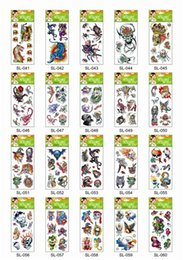 Wholesale Lip Stickers Wholesale - 60Pcs Free Shipping Mini Water Transfer Temporary Tattoo Sticker Skull Flower Tiger Eagle Lion Snake Flower... Random Cheap