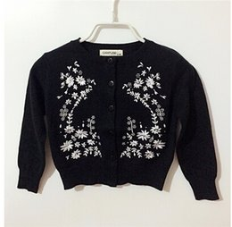 Wholesale Kids Sweaters Fashion - Mother and Daughter Cardigans Fashion Daisy Embroidered Wool Sweater Outwear Baby Clothes Kids Sweaters Casual Family Clothing m674