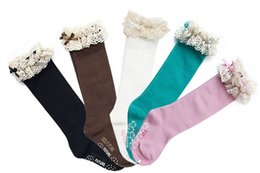 Wholesale Girls Lace Knee Socks - Cute Pure Cotton Lace Bowknot Children Girls Socks Princess Butterfly Knee-High Socks Kids Dance Socks Baby Princess Stockings 5color L1436