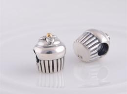 Wholesale Pandora Cupcake - 925 Sterling Silver cupcake charm silver beads Fit for pandora style Bracelet DIY jewelry loose beads
