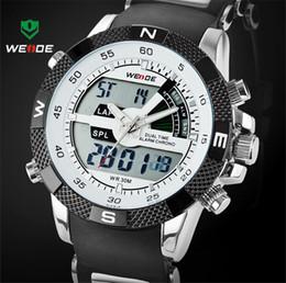 Wholesale Weide Watch Waterproof - Hot Sale WEIDE Luxury Brand Men Sports Watch 3ATM Waterproof Multifunction Digital LED Backlight Military Watches Back light